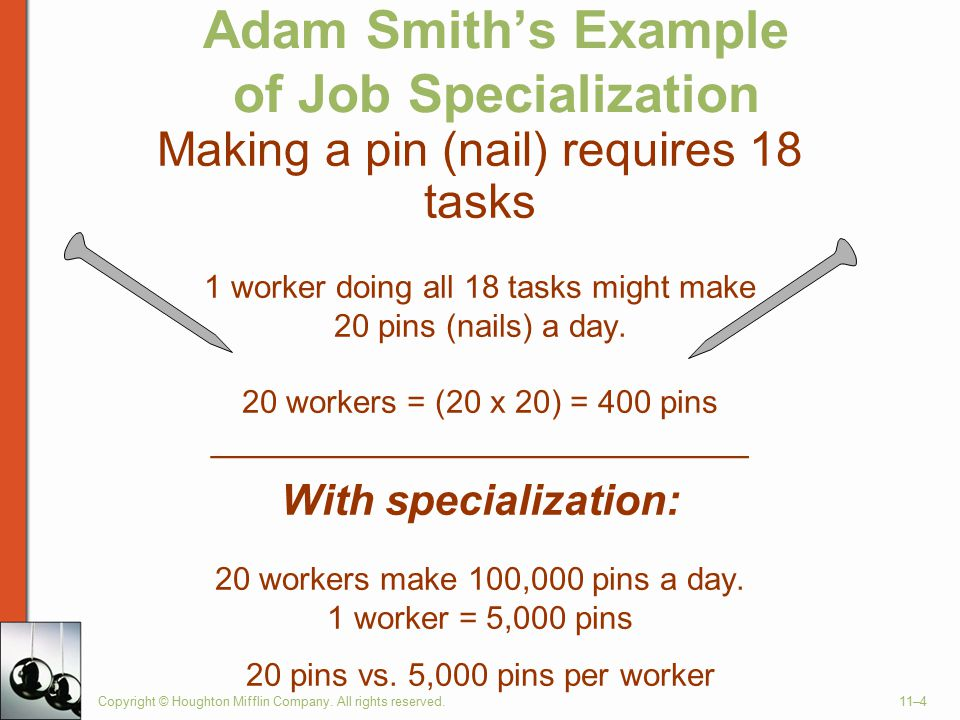 examples of work specialization Work specialization is the division of tasks split up throughout an organization without work specialization, the common day organization wouldn't have different divisions of their labor take for example the automobile industry, and more particularly ford motor company.