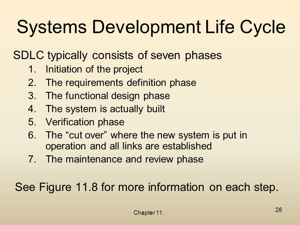 the seven phases of the systems The result of this phase is an initial working program that meets the requirements laid out in the system-analysis phase and the design developed in the system-design phase testing in the testing phase, the software program developed in the previous phase is put through a series of structured tests.