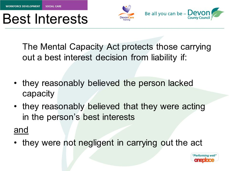 How to make best interests decisions under the Mental ...