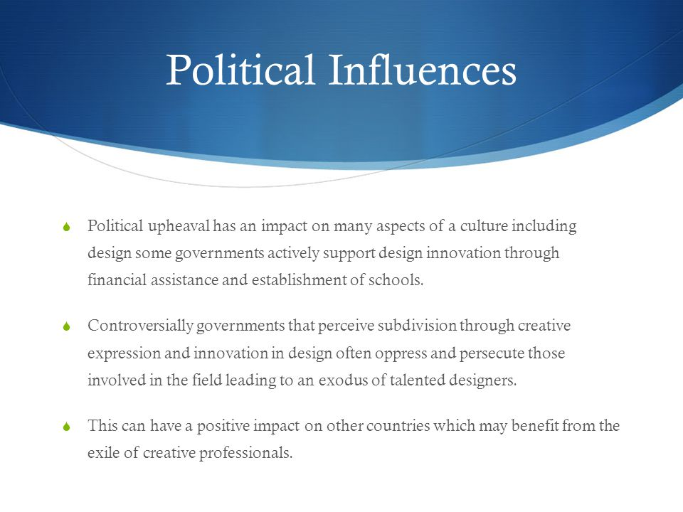 political influences Political influence and bureaucratic autonomy: national and supranational  venues of influences and public sector organizations in the netherlands.
