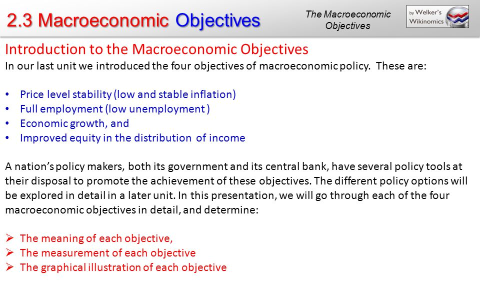 The Macroeconomic Objectives
