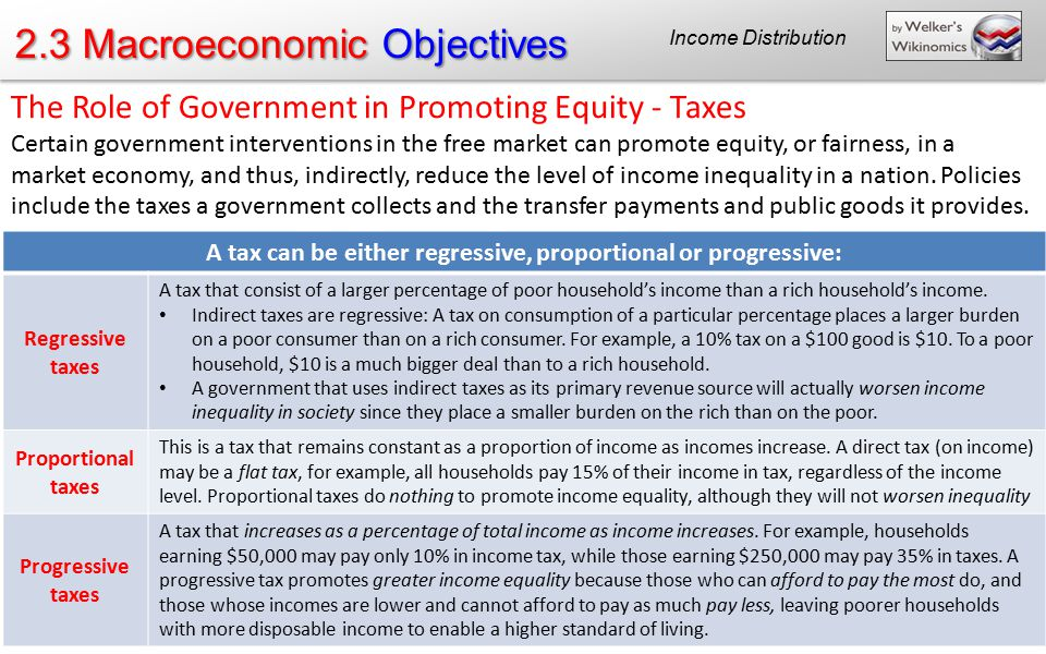 A tax can be either regressive, proportional or progressive: