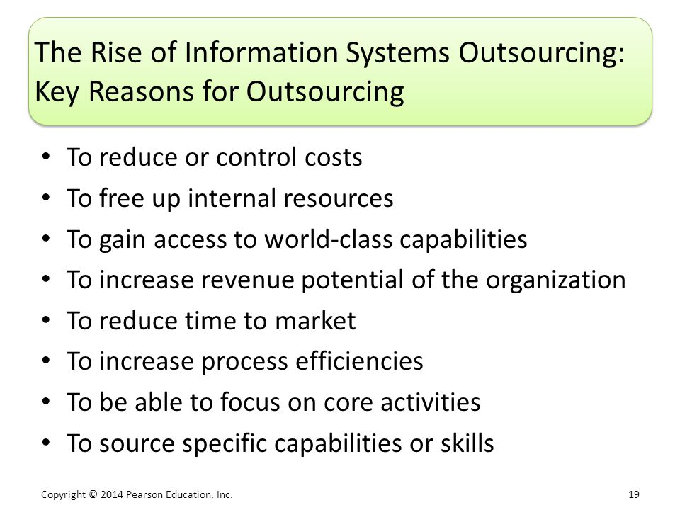 outsourcing information systems Financial and costs benefits are often put forward as the reasons why organisations decide to outsource emerging patterns and trends indicate that today's outsourcing decisions are often.