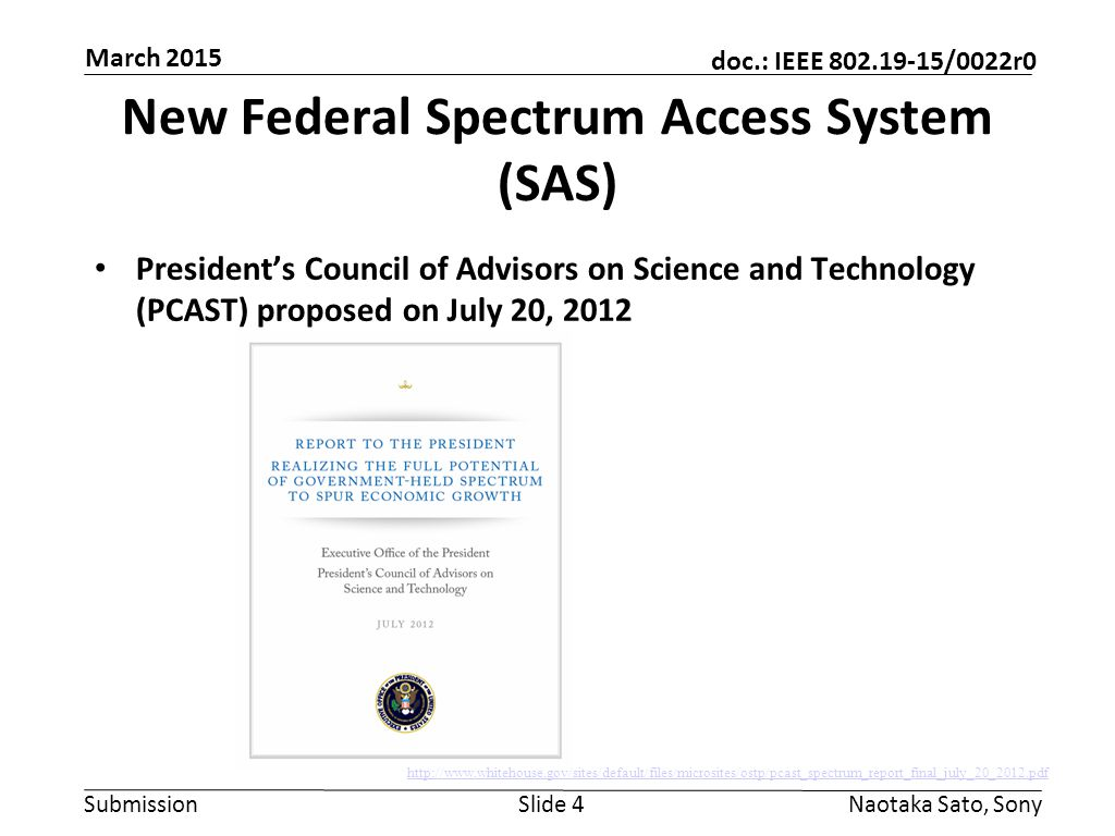 New Federal Spectrum Access System (SAS)