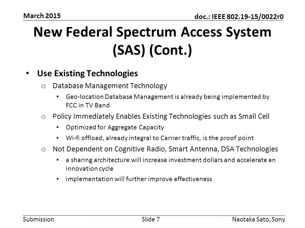 New Federal Spectrum Access System (SAS) (Cont.)
