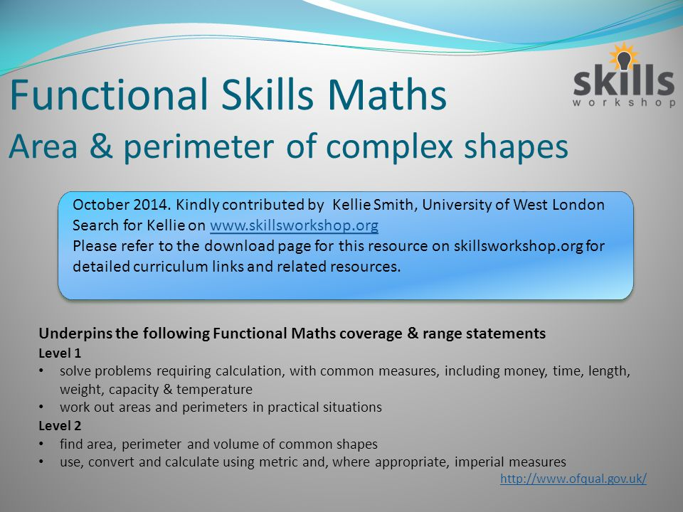 Functional Skills Maths Area Perimeter Of Complex Shapes Ppt