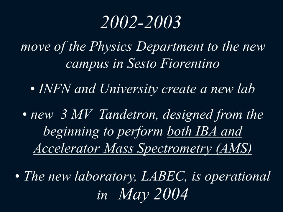 2002-2003 move of the Physics Department to the new campus in Sesto Fiorentino. INFN and University create a new lab.