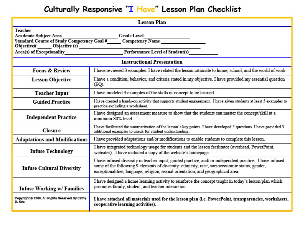 lesson plan checklist for teachers on Completed formal classroom observation form the teacher plans using the virginia standards of learning, the school's curriculum, effective lesson is coherent, sequenced, and aligned to curriculum standards (documentation.