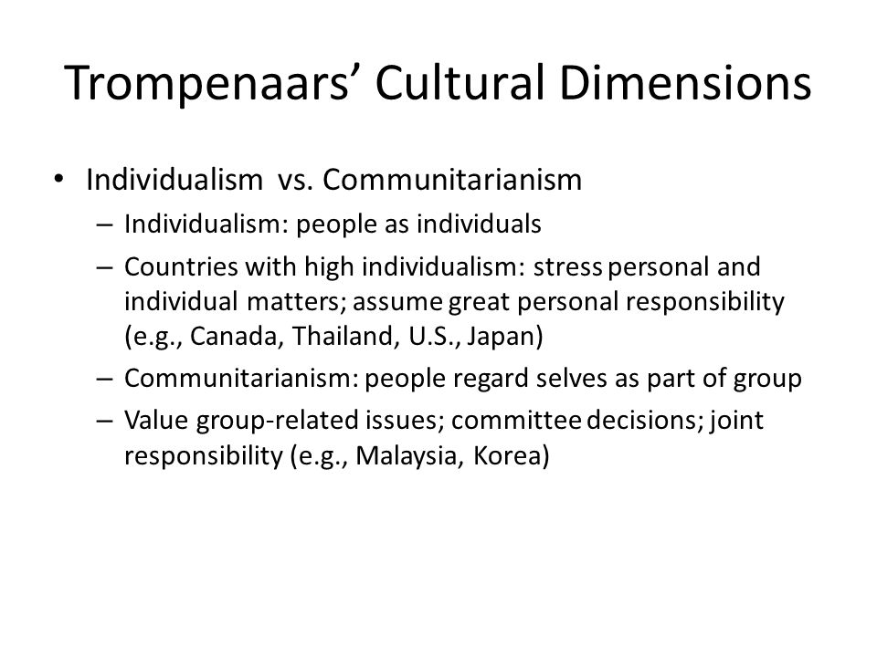 trompenaars dimensions india and canada Understanding cultural diversity in customer service  feel the same way about people from india  and trompenaars discuss more dimensions in their.