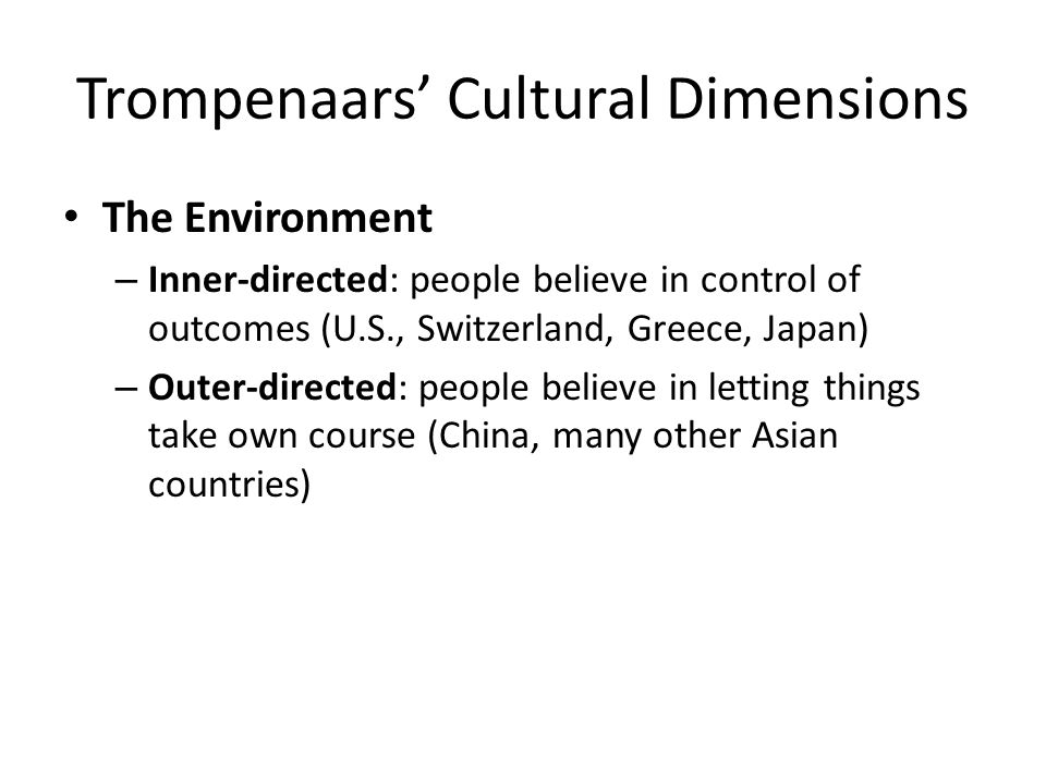 trompenaars culture dimensions on ghana A key to manage effectively across national and cultural boundaries, which is critical to the success (browaeys and price, 2011), lies in the understanding the different means of in various cultures (trompenaars, 1993.