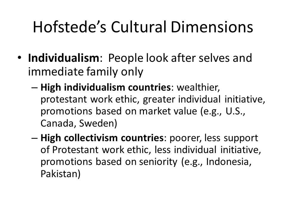 work centrality and hofstede s four dimensions The different types of hofstede's dimensions geert hofstede is a professor who researched how people from different countries and cultures interact based on different categories of cultural.