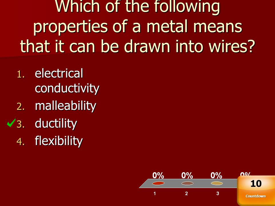 Which of the following properties of a metal means that it can be drawn into wires