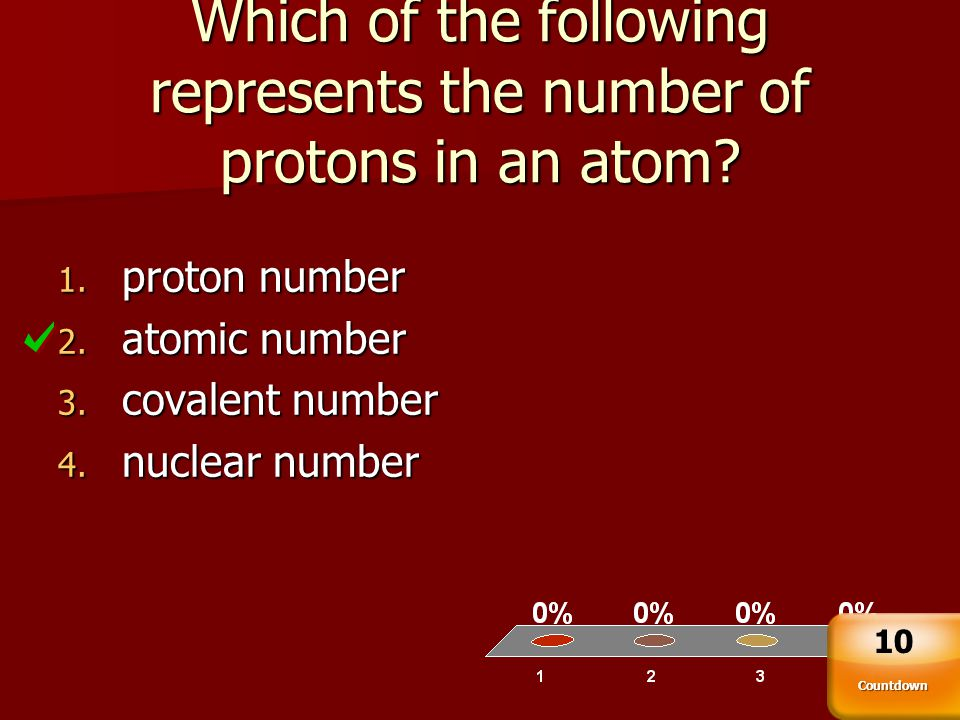 Which of the following represents the number of protons in an atom