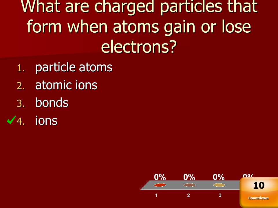 What are charged particles that form when atoms gain or lose electrons