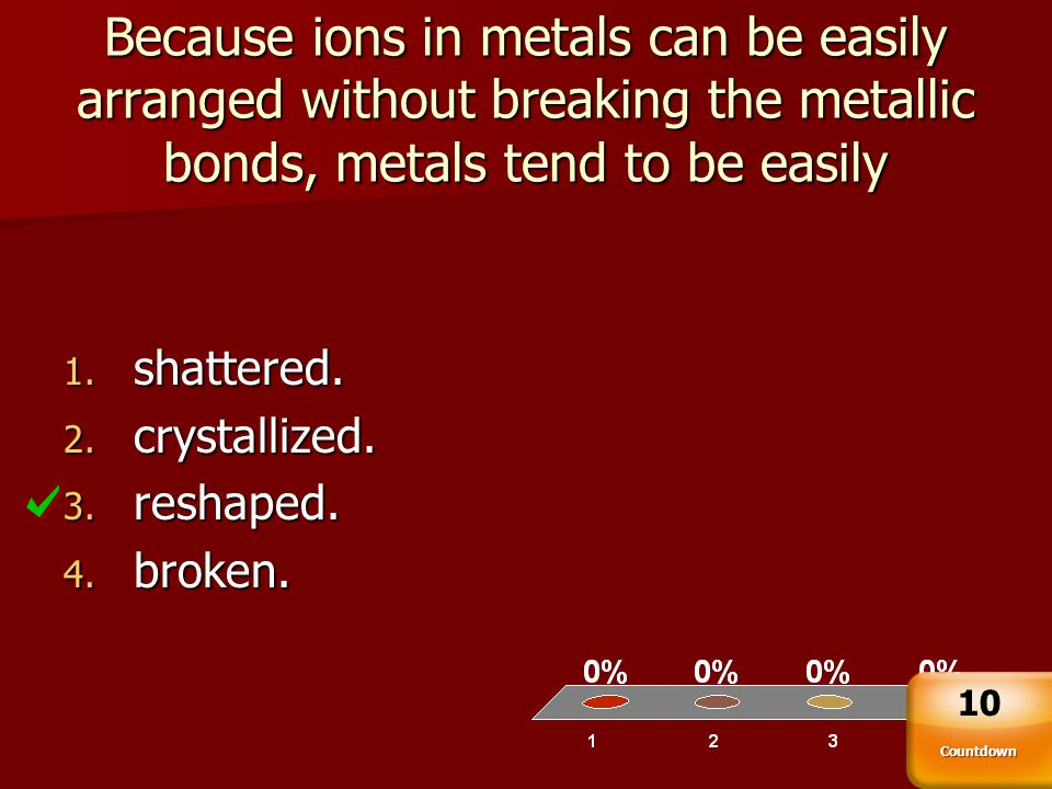 Because ions in metals can be easily arranged without breaking the metallic bonds, metals tend to be easily
