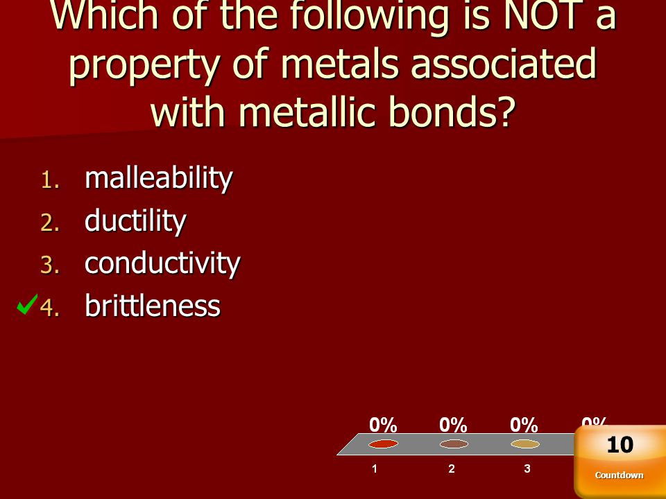 Which of the following is NOT a property of metals associated with metallic bonds