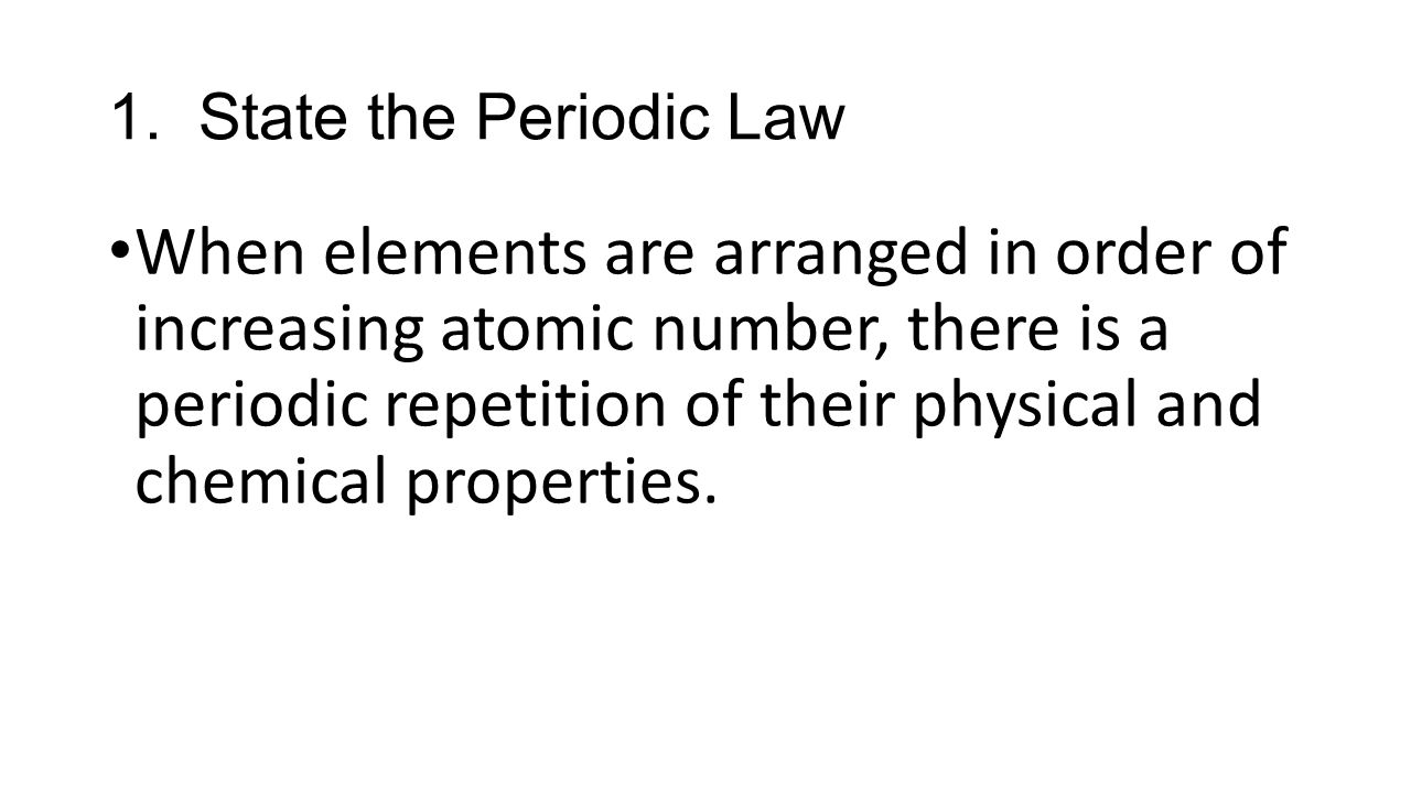 Periodic Law Example Section Review ...