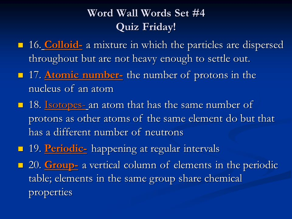 Periodic table of elements chapter ppt download word wall words set 4 quiz friday urtaz Images