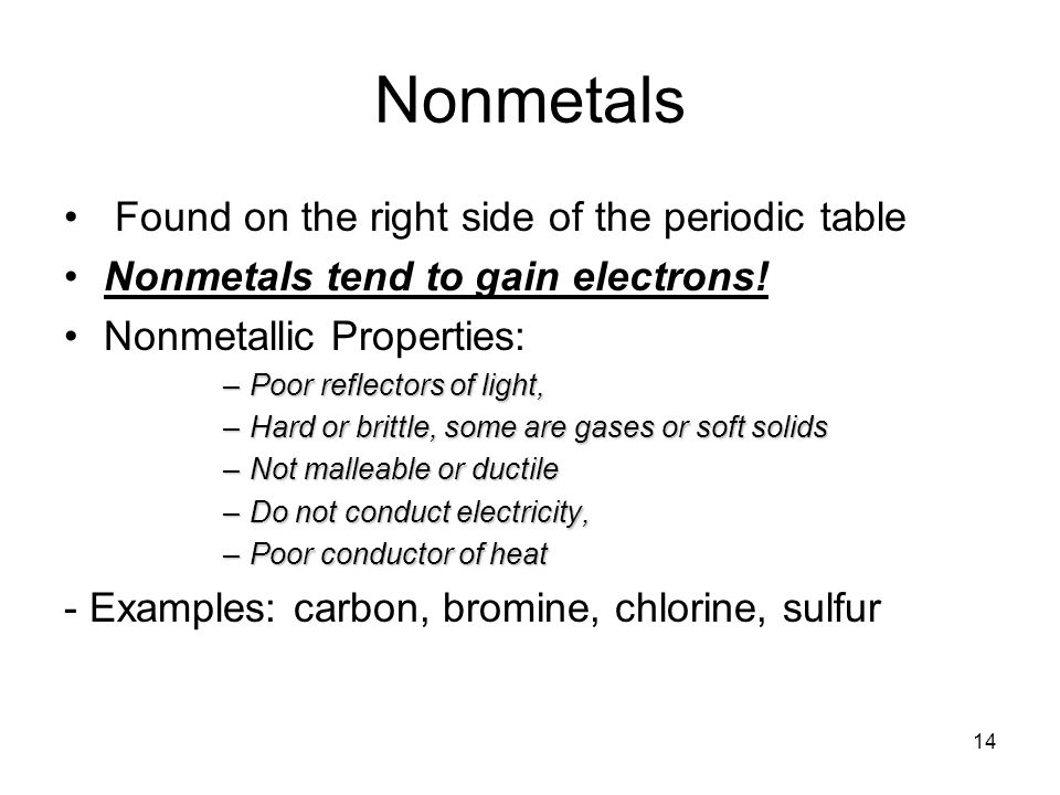 Nonmetals Found on the right side of the periodic table