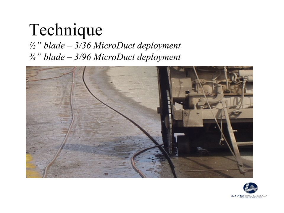 Technique ½ blade – 3/36 MicroDuct deployment ¾ blade – 3/96 MicroDuct deployment