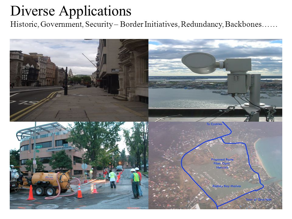 Diverse Applications Historic, Government, Security – Border Initiatives, Redundancy, Backbones……
