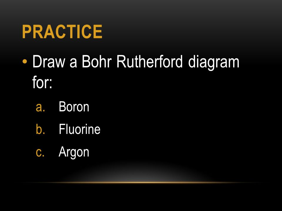 Bohr rutherford and lewis dot diagrams ppt video online download 6 practice draw a bohr rutherford diagram for boron fluorine argon ccuart Gallery