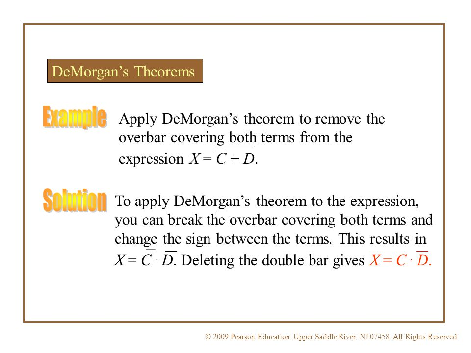Example Solution = DeMorgan's Theorems