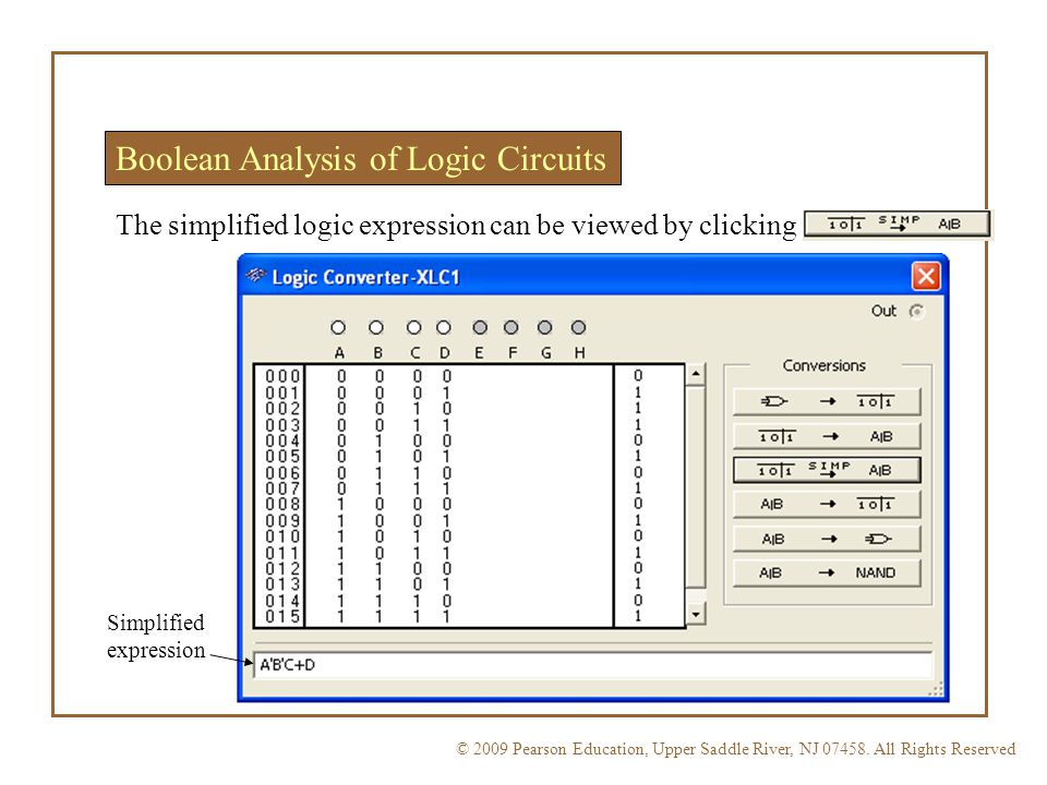 Boolean Analysis of Logic Circuits