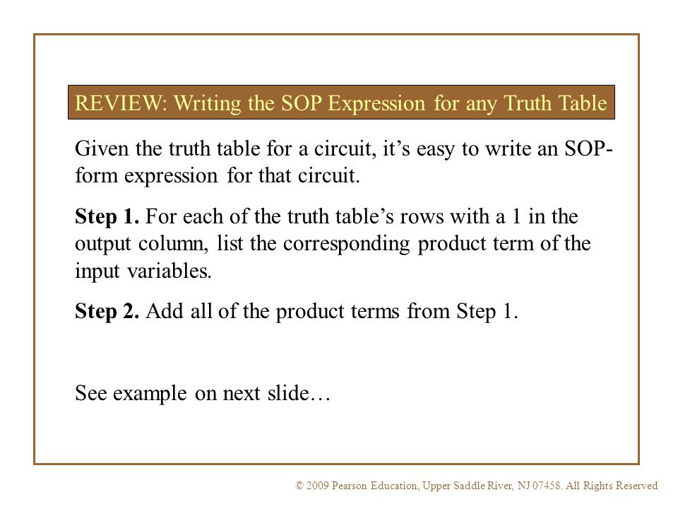 REVIEW: Writing the SOP Expression for any Truth Table