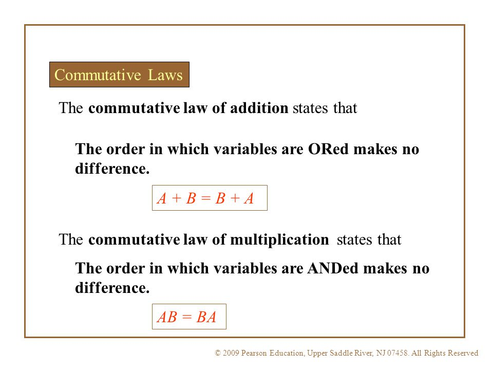 The commutative law of addition states that