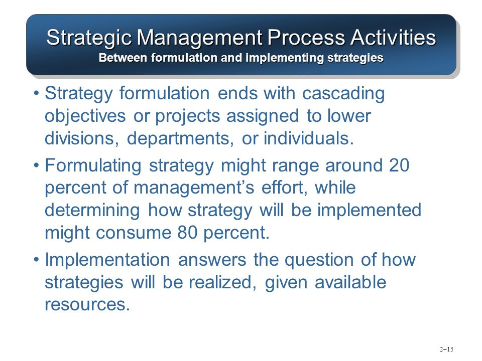 relationship between strategy formulation and strategic control