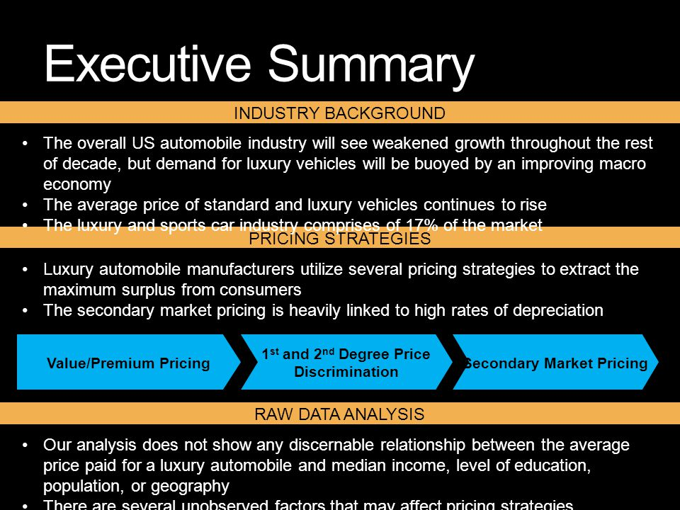 executive summary on market structures and price strategies Sports authority currently holds a 33% market share within  a change in sales structure will allow employees to be dedicated to  executive summary:.