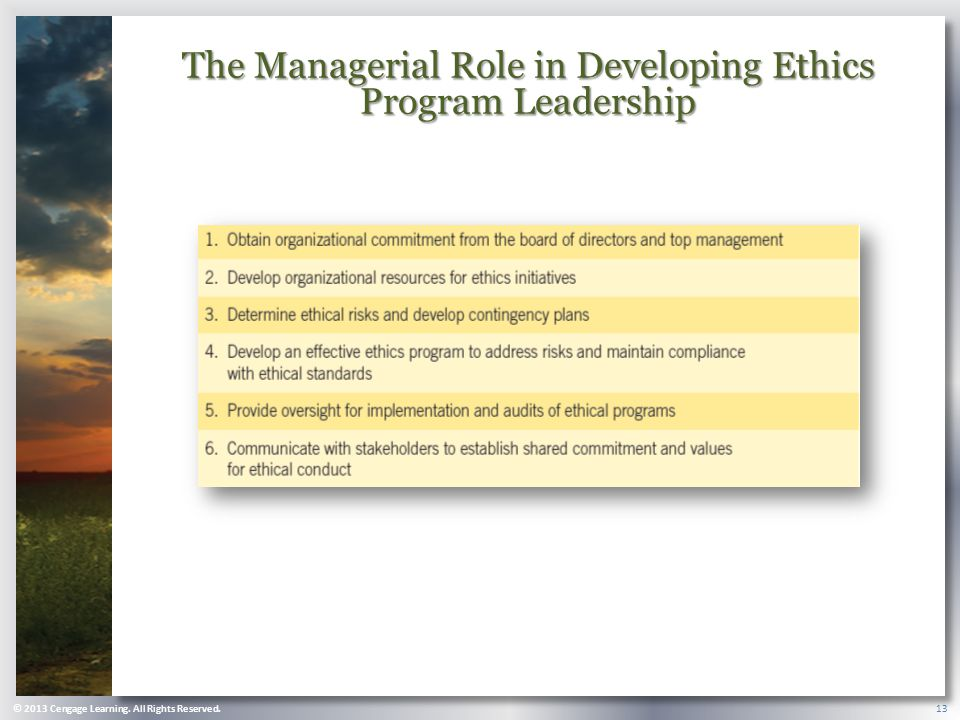 The Managerial Role in Developing Ethics Program Leadership