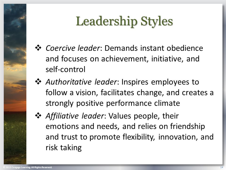 Leadership Styles Coercive leader: Demands instant obedience and focuses on achievement, initiative, and self-control.