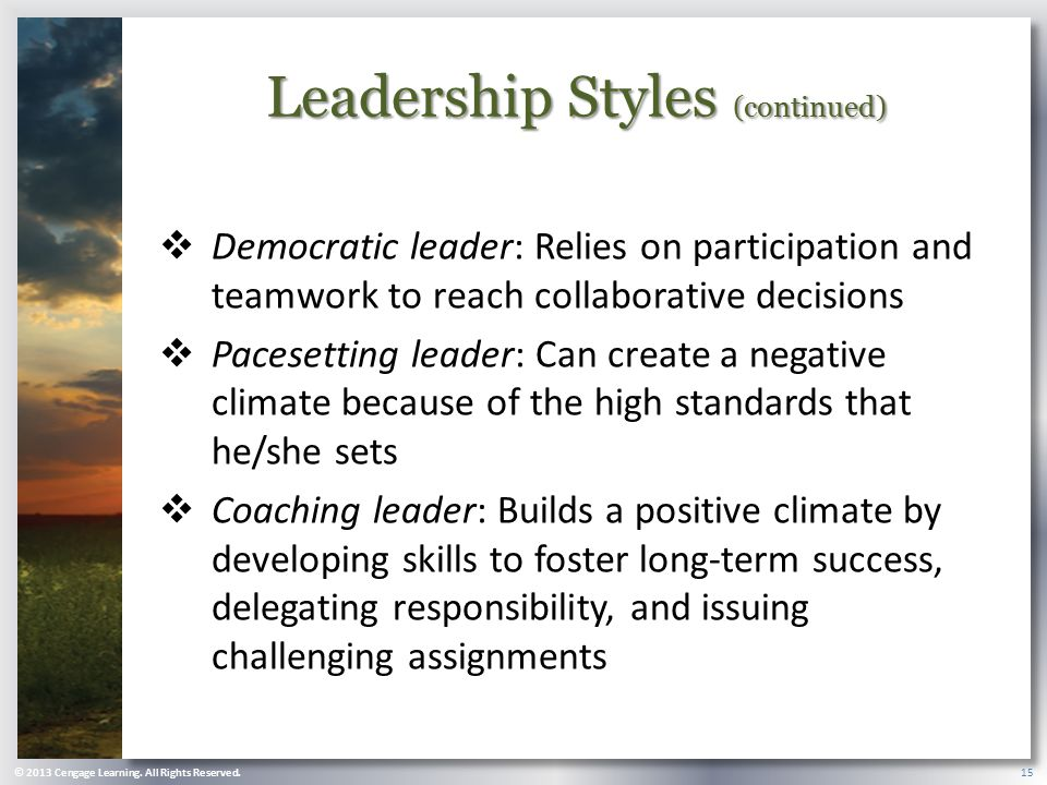 Leadership Styles (continued)