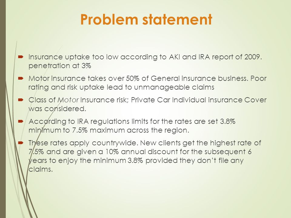 statement of the problem of insurance Accounting problems with solutions - download as pdf file (pdf), text file (txt) (not covered by insurance) you are required to prepare a statement showing the distribution of cash as and when available.