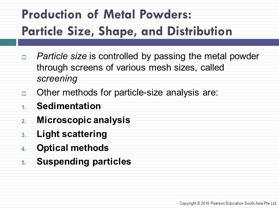 Production of Metal Powders: Particle Size, Shape, and Distribution