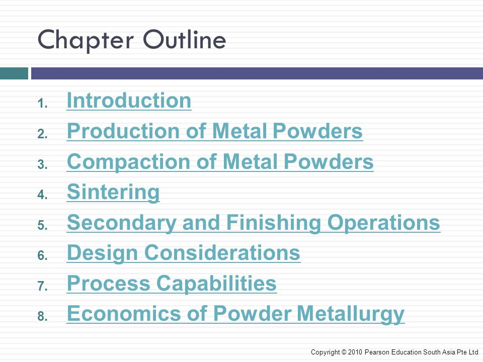 Chapter Outline Introduction Production of Metal Powders