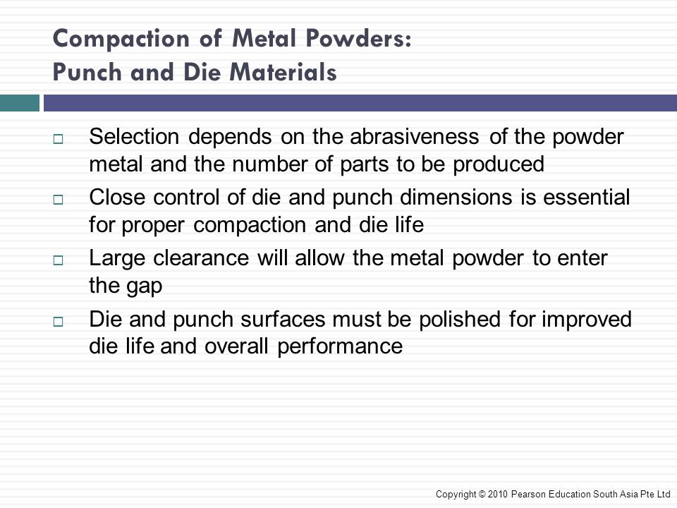 Compaction of Metal Powders: Punch and Die Materials