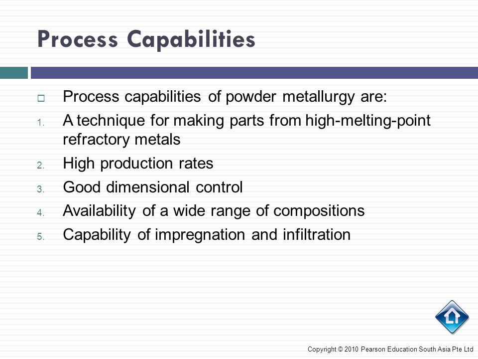 Process Capabilities Process capabilities of powder metallurgy are: