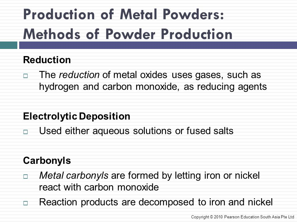 paroduction of powders Solid state reduction is also used for the production of refractory metal powders, using hydrogen as the reducing agent, and for the production of specialist iron powders by the reduction of mill scale (again using hydrogen.