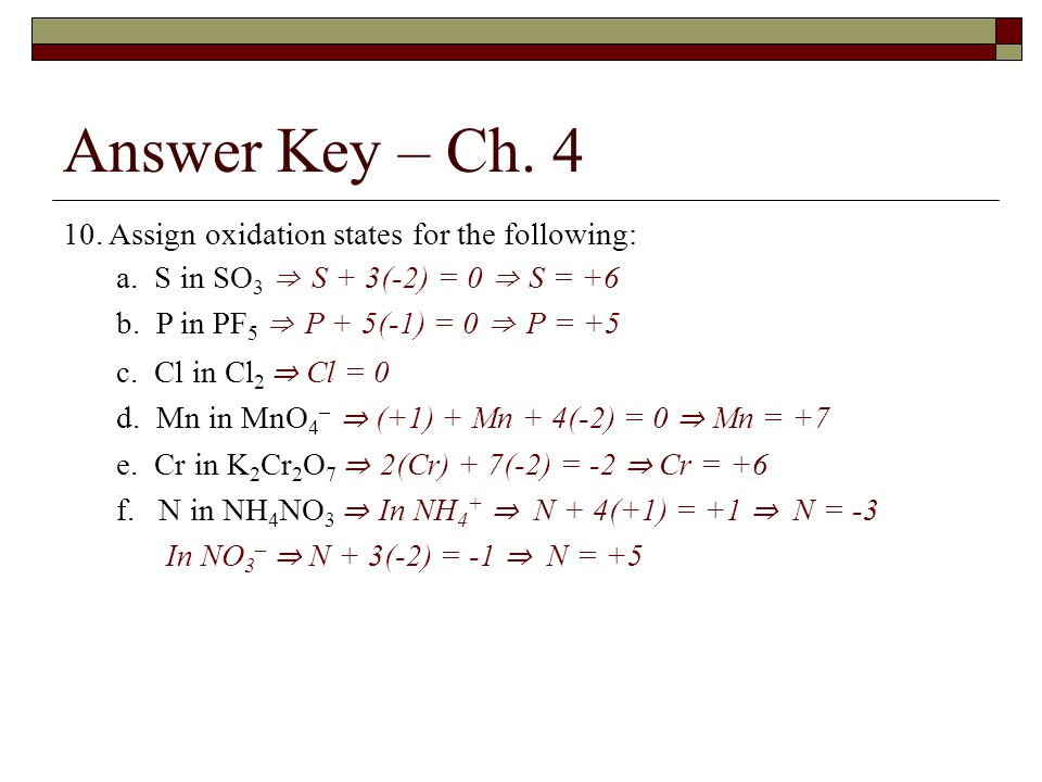 Answer Key – Ch Assign oxidation states for the following: