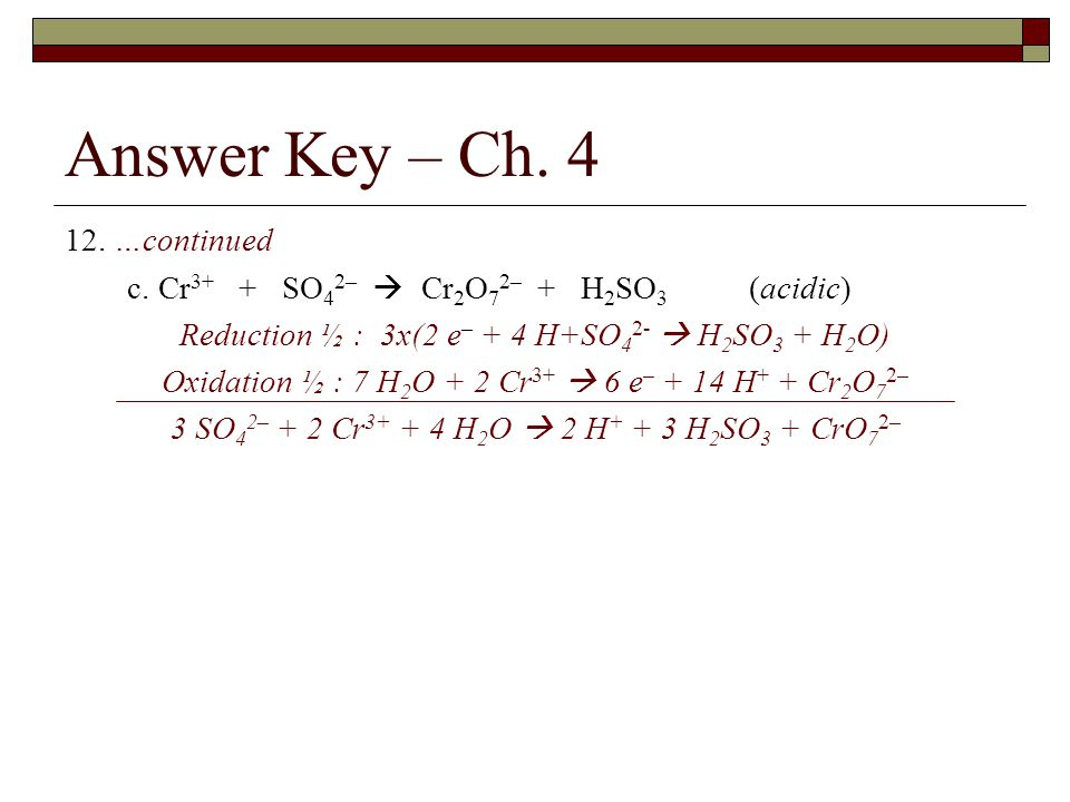 Answer Key – Ch …continued