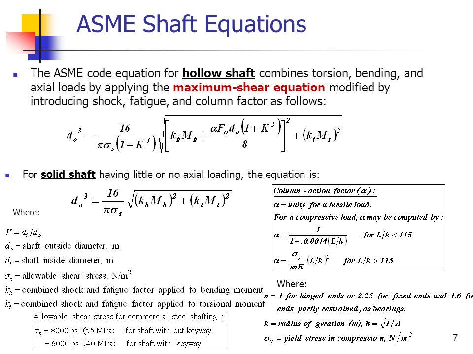 ASME Shaft Equations
