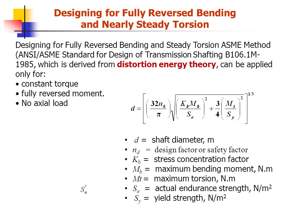 Designing for Fully Reversed Bending and Nearly Steady Torsion