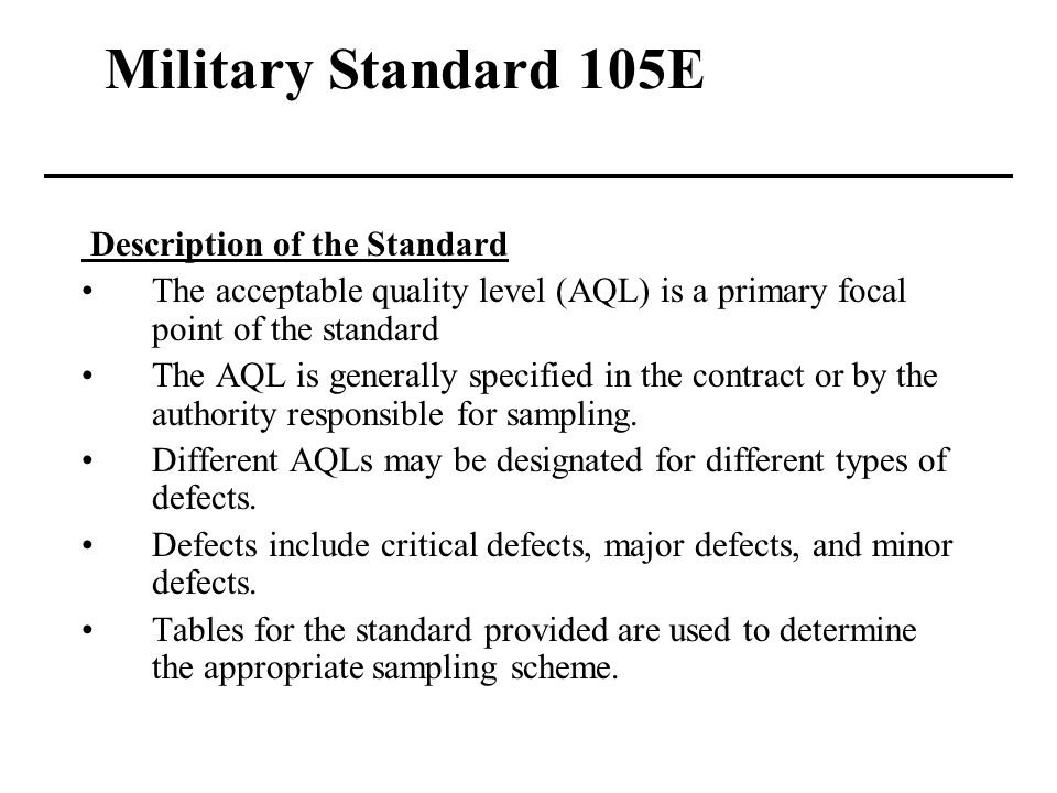 how to use military standard 105e