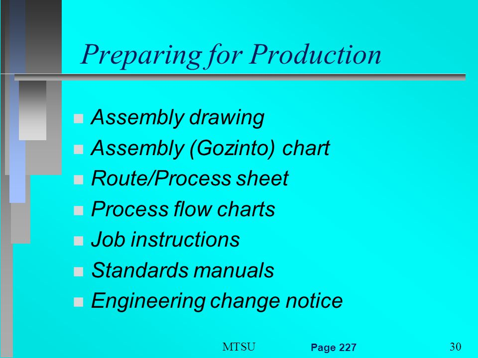 Product design and process selection ppt video online download process flow charts job instructions standards manuals engineering change notice mtsu page 227 15 15 15 preparing for production sciox Images