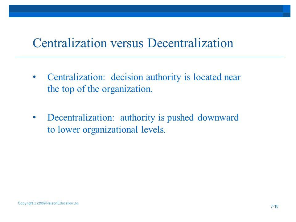 Centralization versus Decentralization