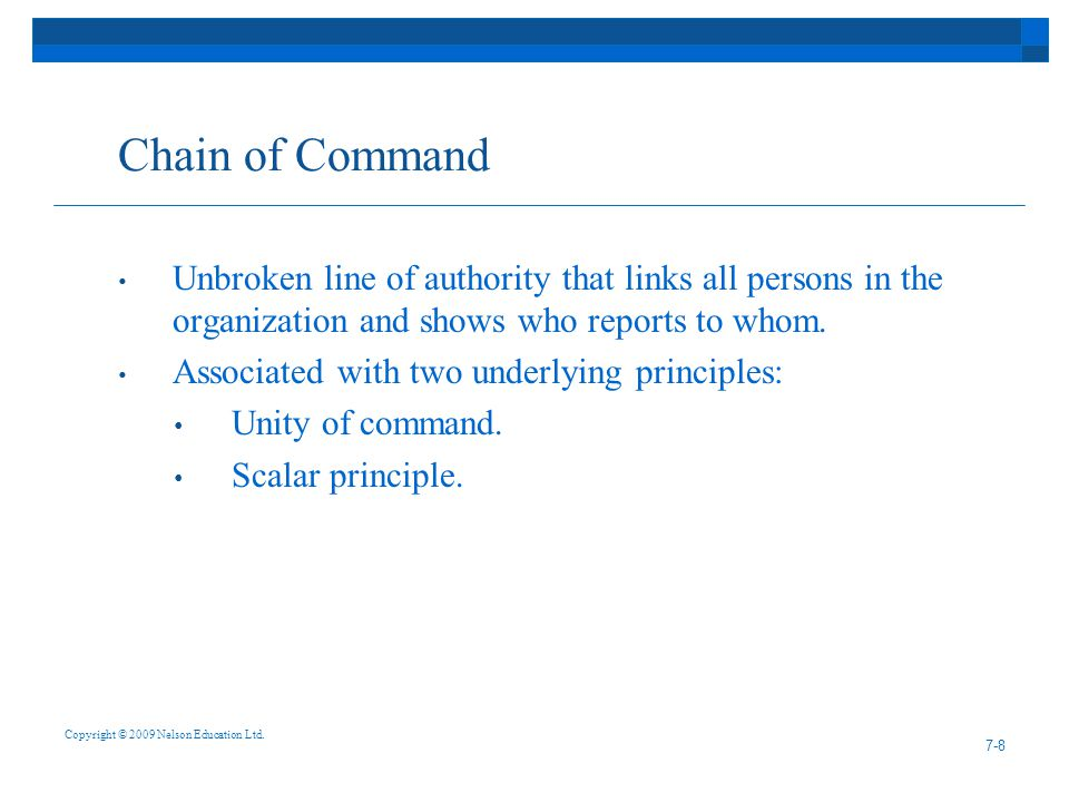 Chain of Command Unbroken line of authority that links all persons in the organization and shows who reports to whom.