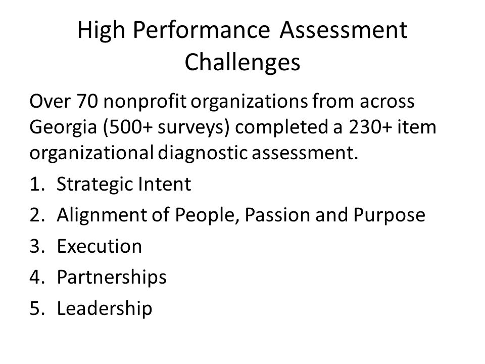 High Performance Assessment Challenges